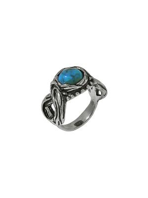 Кольцо DEN'O. Цвет: голубой, серебристый
