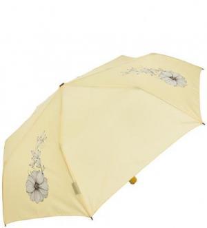 Желтый складной зонт с цветочным принтом Doppler. Цвет: цветочный принт