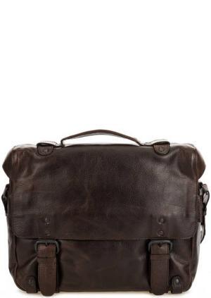 Кожаная сумка с откидным клапаном aunts & uncles. Цвет: коричневый