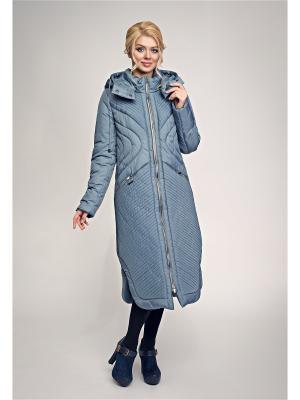 Пальто, пояс D`imma. Цвет: серо-голубой