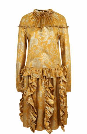 Шелковое платье с воротником-стойкой и оборками Rochas. Цвет: золотой