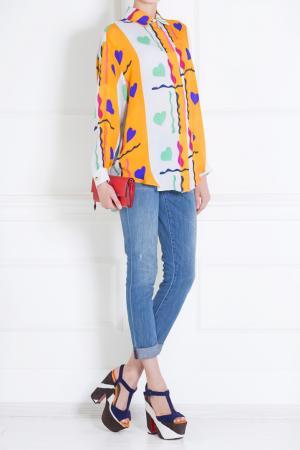Шелковая блузка Tata Naka. Цвет: оранжевый, зеленый, синий, белый