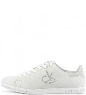 Кеды из нубука с вкладной стелькой Calvin Klein Jeans. Цвет: серый