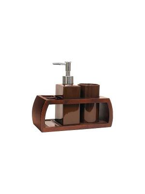 Набор для ванн из 3 предметов (подставка, дозатор, стакан) Blonder Home. Цвет: коричневый