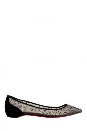 Балетки Follies Lace Flat Tulle Mouchete/Veau Christian Louboutin. Цвет: черный