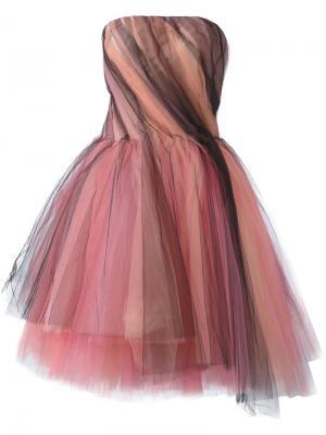 Тюлевое платье без бретелей Oscar de la Renta. Цвет: многоцветный