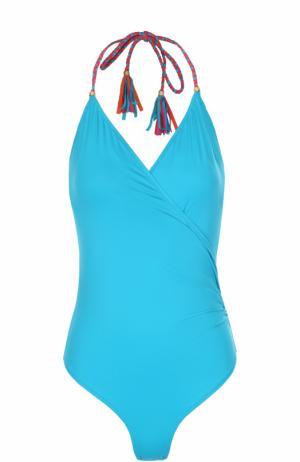 Слитный купальник с декоративной контрастной шнуровкой Lazul. Цвет: голубой