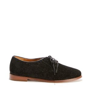 Ботинки-дерби кожаные с пайетками BOBBIES. Цвет: черный