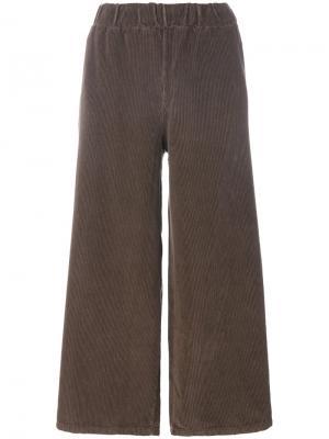 Укороченные вельветовые широкие брюки Labo Art. Цвет: коричневый