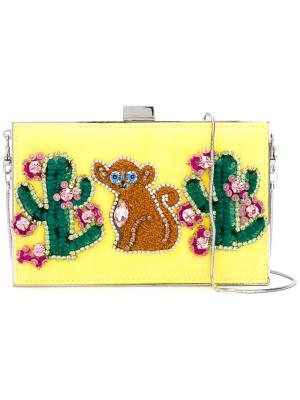 Клатч с кактусами и обезьяной Gedebe. Цвет: жёлтый и оранжевый