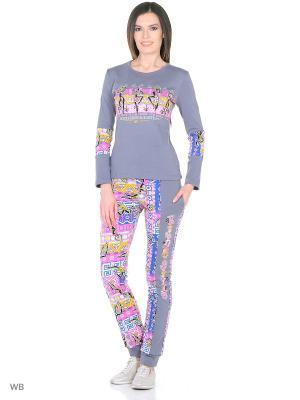 Костюм (кофта, брюки) HomeLike. Цвет: серый, розовый