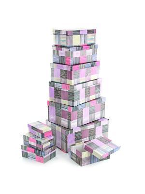 Набор из 10 прямоугольных коробок 12*6,5*4-30,5*20*13см, Сиреневое сияние VELD-CO. Цвет: терракотовый, розовый