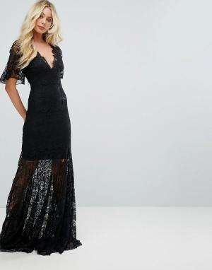 Body Frock Кружевное платье макси с глубоким вырезом и юбкой-годе Bodyfrock. Цвет: черный