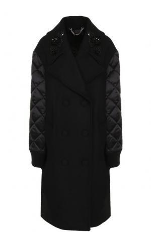 Пальто со стегаными рукавами и пайетками Markus Lupfer. Цвет: черный