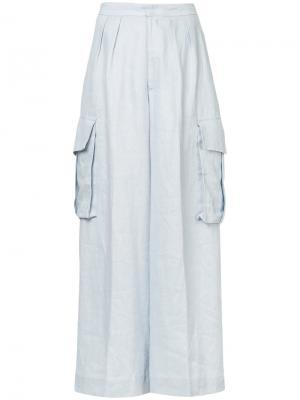 Широкие брюки-карго Bambah. Цвет: синий