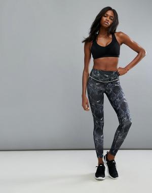 Elle Sport Леггинсы с отделкой цвета киви s. Цвет: черный