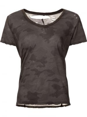 Camouflage print T-shirt Unravel Project. Цвет: зелёный