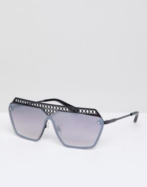 Quay Australia Солнцезащитные очки с плоским верхом Hall Of Fame. Цвет: черный