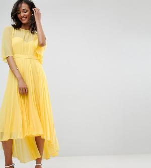 ASOS Tall Платье миди с плиссированной юбкой и удлиненным сзади краем. Цвет: желтый