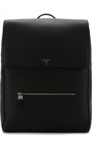 Кожаный рюкзак с клапаном Serapian. Цвет: черный