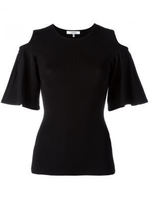 Блузка с вырезами на плечах Ganni. Цвет: чёрный