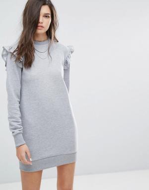 Uncivilised Трикотажное платье с рюшами. Цвет: серый