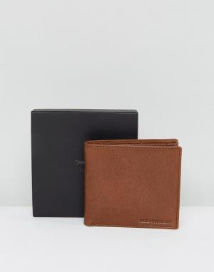 Paul Costelloe Коричнево-синий кожаный бумажник. Цвет: рыжий