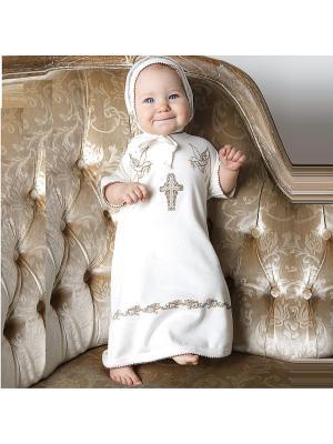 Крестильный Набор (рубашка,чепчик) SNO KATT. Цвет: молочный