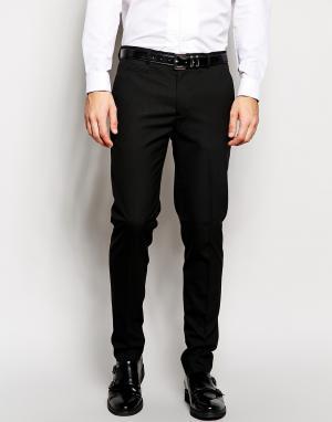 ASOS Черные строгие брюки скинни. Цвет: черный