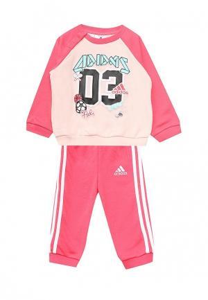 Костюм спортивный adidas. Цвет: розовый