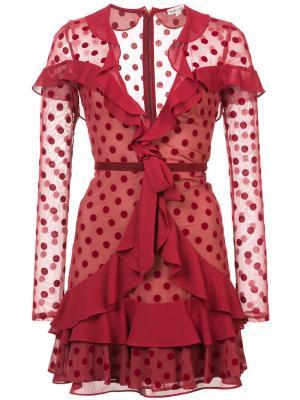 Платье в горох с оборками For Love And Lemons. Цвет: красный