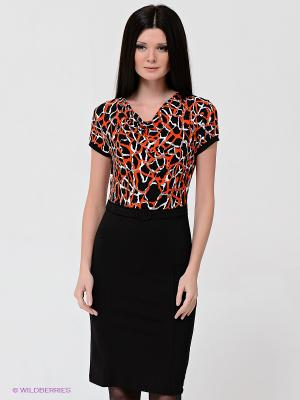 Платье VILA JOY. Цвет: черный, оранжевый