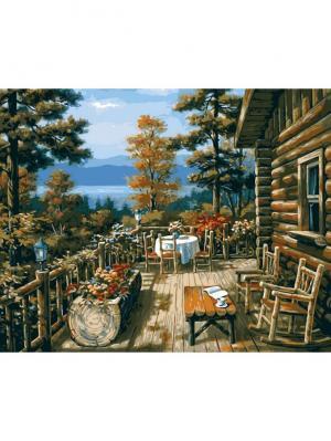Набор для рисования (40*50) Терраса лесного домика Menglei. Цвет: серый меланж