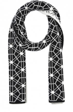 Кашемировый шарф с геометрическим узором Johnstons Of Elgin. Цвет: черно-белый