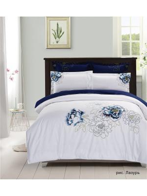 Комплект постельного белья сатин с вышивкой евро Василиса. Цвет: белый, синий