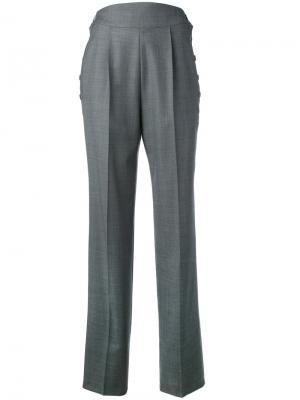 Шерстяные брюки с завышенной талией Christopher Kane. Цвет: серый