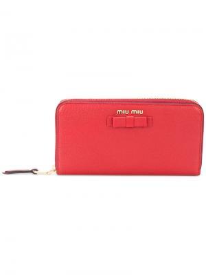 Континентальный кошелек с бантом Miu. Цвет: красный