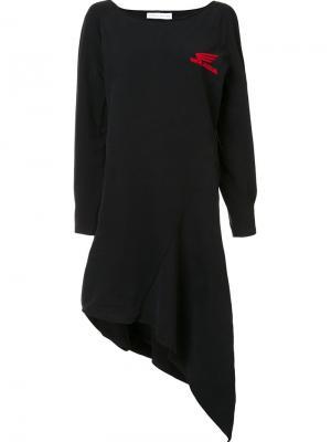 Асимметричное платье с принтом-логотипом Wanda Nylon. Цвет: чёрный