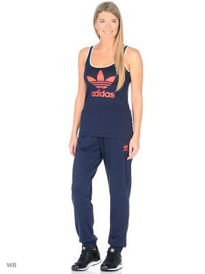 Трикотажные брюки Adidas. Цвет: темно-синий