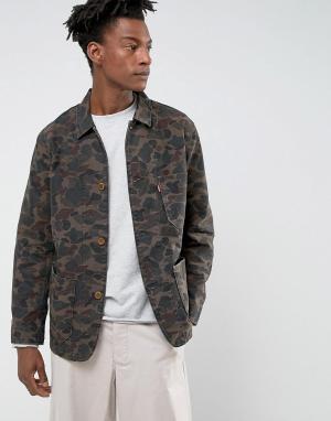 Levis Пальто с камуфляжным принтом. Цвет: коричневый