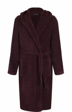Хлопковый халат с капюшоном Emporio Armani. Цвет: бордовый