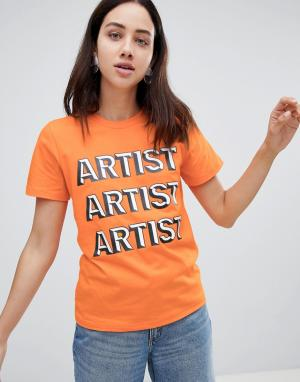 House of Holland Футболка с надписью Artist. Цвет: оранжевый