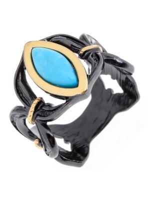 Кольцо Балтийское золото. Цвет: черный,бирюзовый