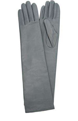 Удлиненные кожаные перчатки с отделкой из шерсти Agnelle. Цвет: темно-синий