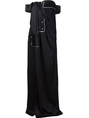 Вечернее платье в стиле драпированной рубашки Monse. Цвет: чёрный