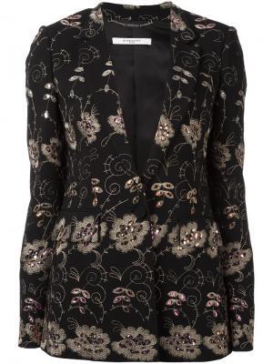 Блейзер с вышивкой Givenchy. Цвет: чёрный