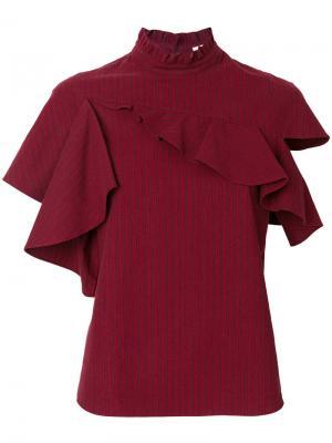 Асимметричная футболка с оборками Manoush. Цвет: красный