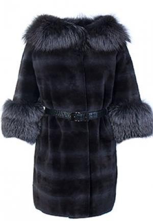 Меховое пальто ласка BELLINI. Цвет: серый