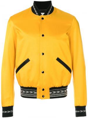 Varsity bomber jacket Saint Laurent. Цвет: жёлтый и оранжевый