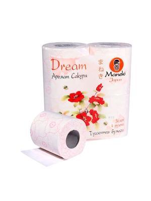 Бумага туалетная Dream с розовым тиснением и ароматом Сакуры 4 рулона/упаковка Maneki. Цвет: белый